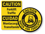 Bilingual Forklift Signs