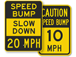 Speed Bump MPH Speed Limit Signs