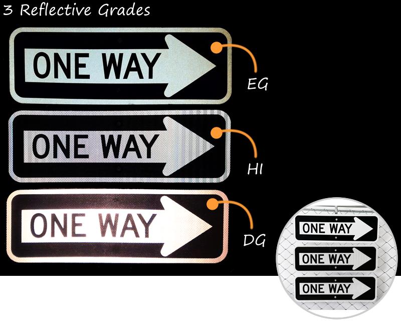 One way signs at night – compare three reflective grades