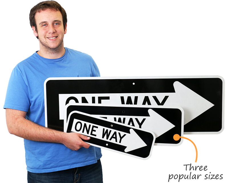 Three sizes of one way signs