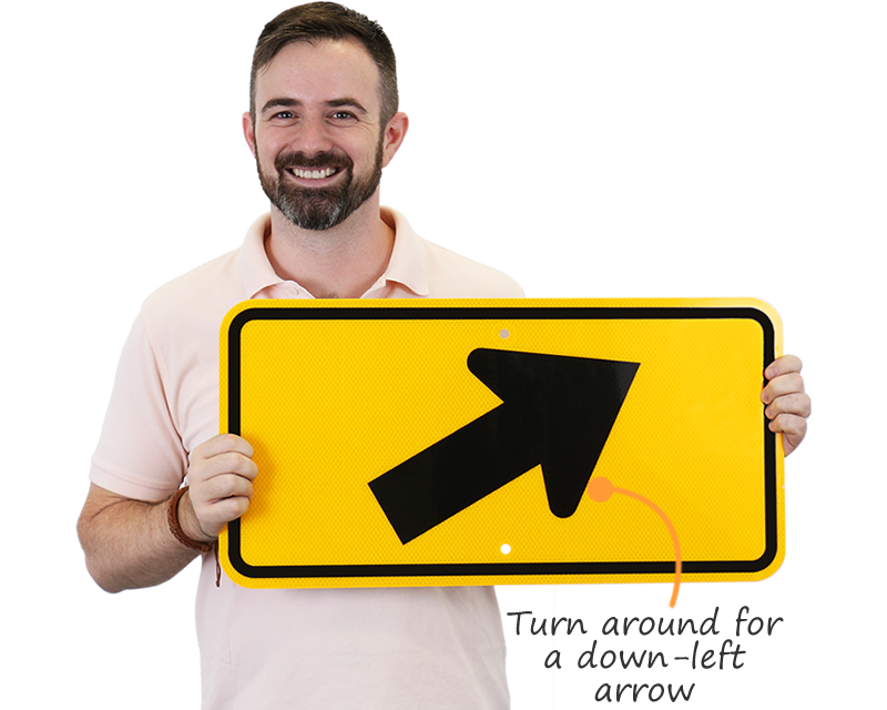 Yellow arrow sign