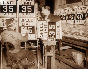 Speed Limit Signs Changed from 35 to 45 mph in Chicago, 1947