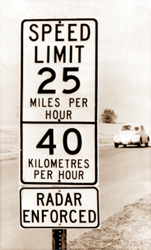 Metric Speed Limit Sign from 1975