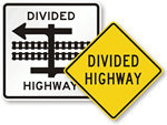 Divided Highway Signs