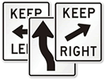 Keep Right Signs And Keep Left Signs