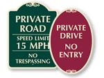 Designer Private Roads Signs