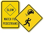 Slow Pedestrian Crossing Signs