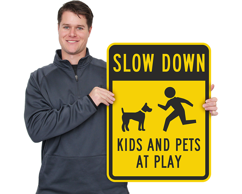 Slow Children Playing Speed Limit Signs