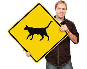 Animal Cat Crossing Sign