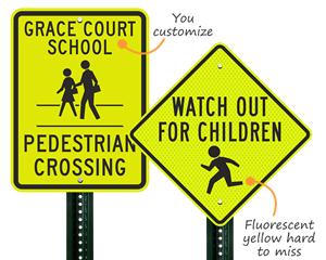 Children crossing signage