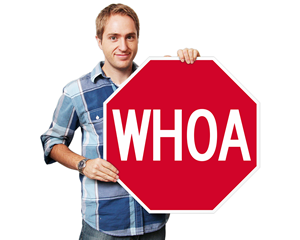 Funny stop shaped whoa sign