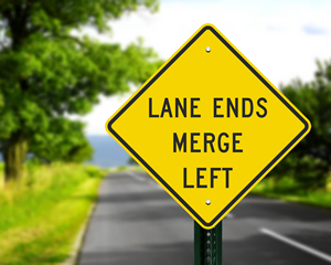 Lane Ends Merge Left Signs