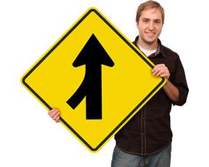 Left Lane Merge Signs