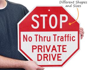 No Thru Traffic Stop Signs