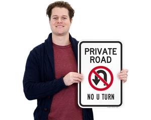 Private road no u-turn sign