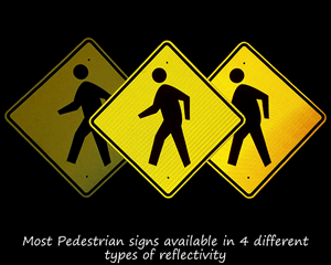 Reflective predestrian crossing signs