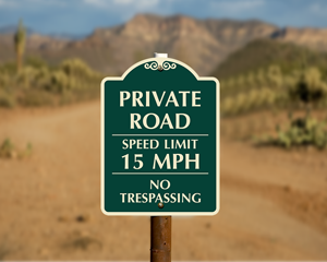 Private road speed limit sign