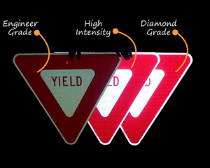 Reflective Yield Traffic Signs in Night