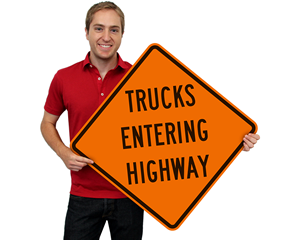 Truck entering signs