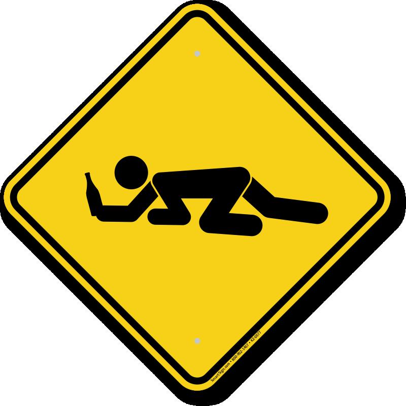 Drunk Student Crossing Symbol Sign Sku K2 0577