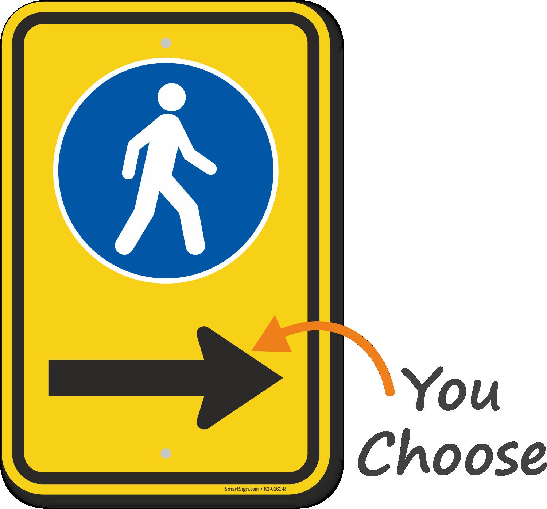 Pedestrian Walking Sidewalk Sign With Right Arrow