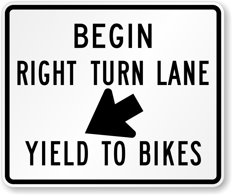 how to turn when sign designates a lane