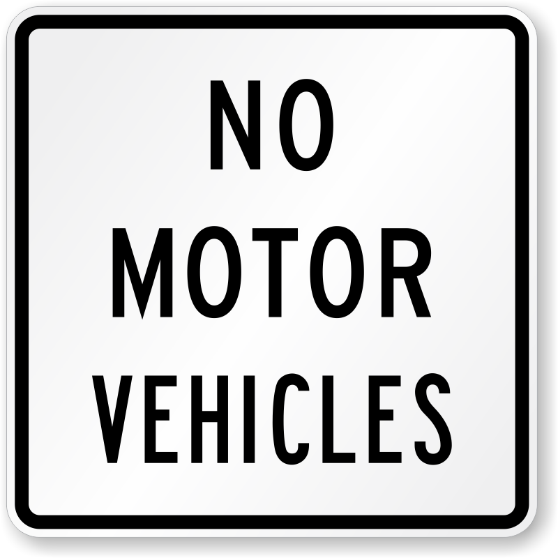 no motor vehicles sign r5 3 sku x r5 3