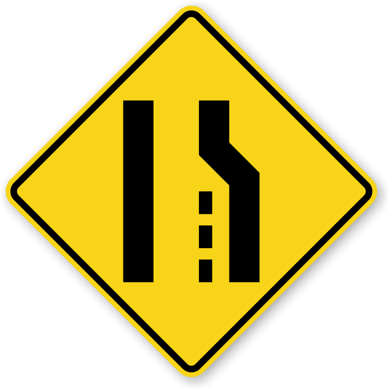 right lane ends sign w42r sku xw42r