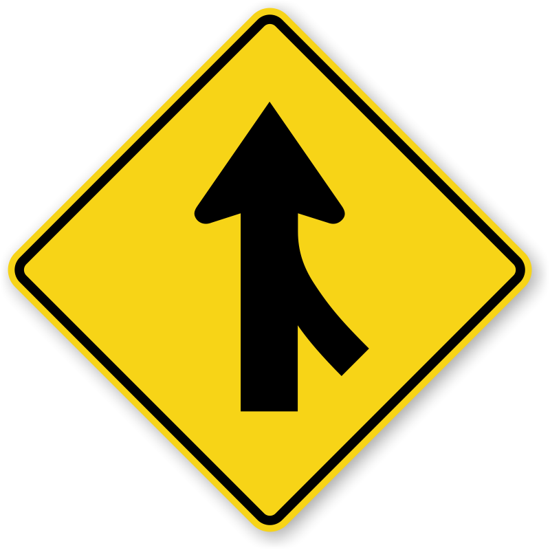 Right Lane Merge Right Sign  W41R, SKU: XW41R