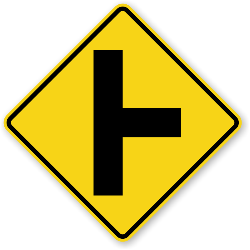 Side Road Sign - W2-2R, SKU: X-W2-2R Y Intersection Sign