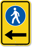 Pedestrian Walking Sidewalk Sign With Left Arrow