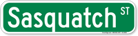 Sasquatch Street Sign