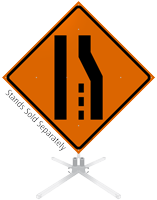 merge right lane ends symbol rollup sign sku wm0030