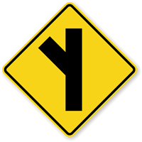 Side Road On Left (Symbol) Sign