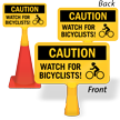 Caution Watch For Bicyclists ConeBoss Sign