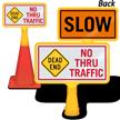 Dead End No Thru Traffic ConeBoss Sign