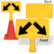 Two Downward Diagonal Arrow ConeBoss Sign