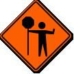 Flagger Symbol Traffic Control Sign