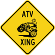 ATV Xing Diamond Crossing Sign