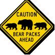 Bear Packs Ahead Sign