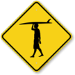 Boy Surfer Symbol Crossing Sign