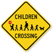 Children Crossing Holding Hand Held Stop Sign