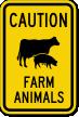 Farm Animals Cow & Pig Symbol Caution Sign