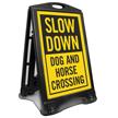 Dog And Horse Crossing Sidewalk Sign