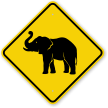 Elephant Crossing Warning Sign