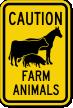 Farm Animals Horse, Cow, Pig Symbol Caution Sign