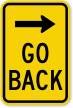 Go Back Right Arrow Sign