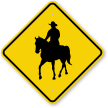 Man On Horse Graphic Horse Rider Crossing Sign