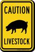Livestock Caution Sign, Pig Silo Symbol