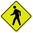 Pedestrian Crossing Symbol Fluorescent Diamond Grade School Sign
